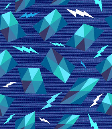 Unusual vintage hipster geometric elements and lightning bolts seamless pattern background. Vector file layered for easy editing. Stock Vector - 21600040