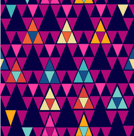Unusual colorful retro hipsters triangle seamless pattern background. Vector file layered for easy editing.  Vector