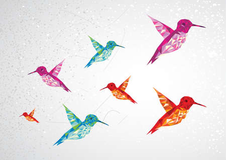 humming: Trendy colorful abstract humming birds triangle shapes over grunge background. Vector file layered for easy editing. Illustration