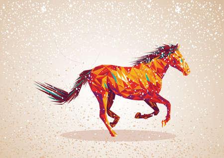 warm colors: Moda coloridos abstractos caballo formas triangulares sobre fondo grunge. Archivo vectorial en capas para facilitar la edici�n.