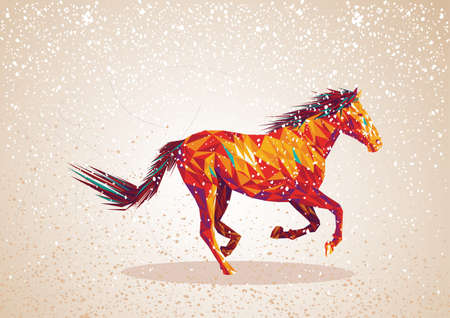 warm colors: Trendy colorful abstract horse triangle shapes over grunge background. Vector file layered for easy editing. Illustration