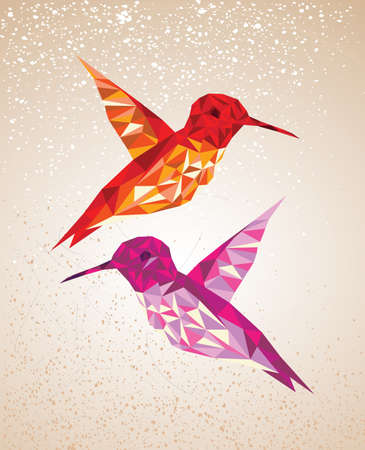 Trendy colorful abstract humming birds triangles shapes over grunge background. Vector file layered for easy editing. Vector