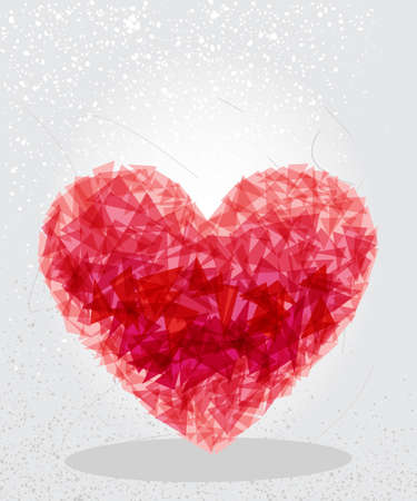 Trendy red love heart transparent shapes elements grunge background.  vector with transparency organized in layers for easy editing. Vector