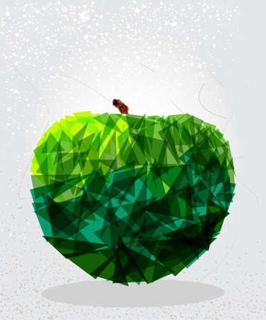 apple: Trendy green apple food transparent shapes elements grunge background.  vector with transparency organized in layers for easy editing.
