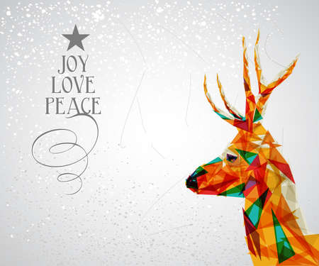 christmas reindeer: Trendy Christmas reindeer transparent triangle elements grunge background.  vector with transparency organized in layers for easy editing.