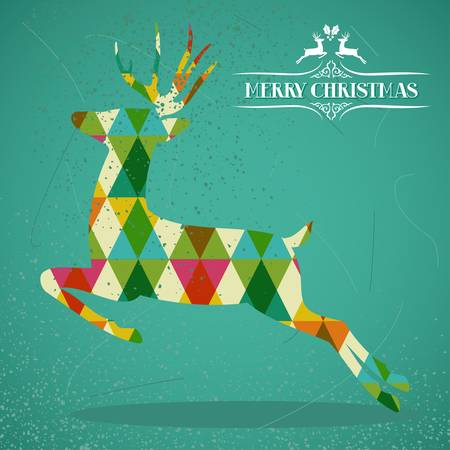 christmas reindeer: Merry Christmas colorful reindeer jump transparent geometric elements green background. vector with transparency organized in layers for easy editing.