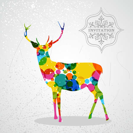 Trendy Christmas colorful reindeer transparent geometric elements grunge background.  vector with transparency organized in layers for easy editing. Stock Vector - 21600193