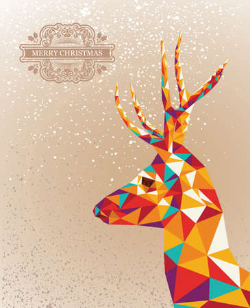 unusual: Trendy Christmas colorful reindeer transparent geometric elements grunge background. Vector file layered for easy editing.