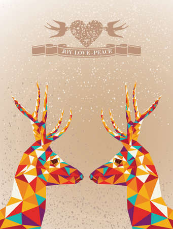Trendy Christmas colorful reindeers transparent geometric elements grunge background  Vector file layered for easy editing  Vector