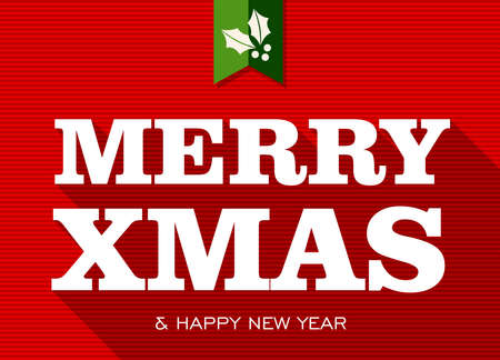 Merry Christmas and happy new year white text over red background  Vector file layered for easy editing Stock Vector - 21600225