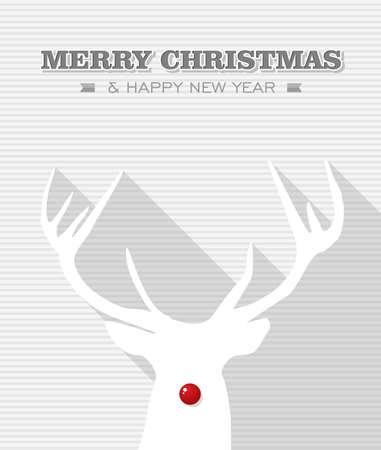 reno: Feliz Navidad y feliz a�o nuevo, Rudolph el reno nariz archivo Vector punto rojo en capas para facilitar la edici�n Vectores