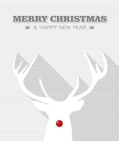 christmas sock: Merry Christmas and happy new year, Rudolph reindeer red dot nose  Vector file layered for easy editing