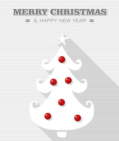 Merry Christmas and happy new year, Rudolph reindeer red dot nose bauble tree  Vector file layered for easy editing  Vector