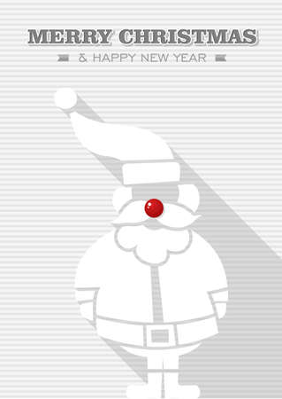 Merry Christmas and happy new year, Rudolph reindeer red dot nose Santa Claus  Vector file layered for easy editing Stock Vector - 21600232