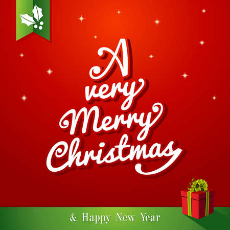 A very Merry Christmas and happy new year,tree shape red background  Vector file layered for easy editing Stock Vector - 21600235