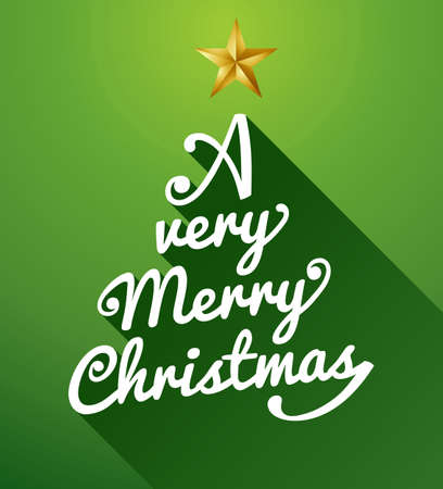 A very Merry Christmas tree shape text over green background  Vector file layered for easy editing Stock Vector - 21600237