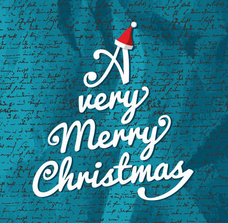 A very Merry Christmas tree shape white text over blue text background  Vector file layered for easy editing Stock Vector - 21600240