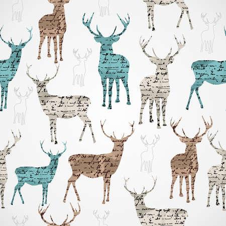 メリー クリスマス ビンテージ トナカイ グランジ テクスチャのシームレスなパターン背景ベクトル ファイルは簡単に編集用層