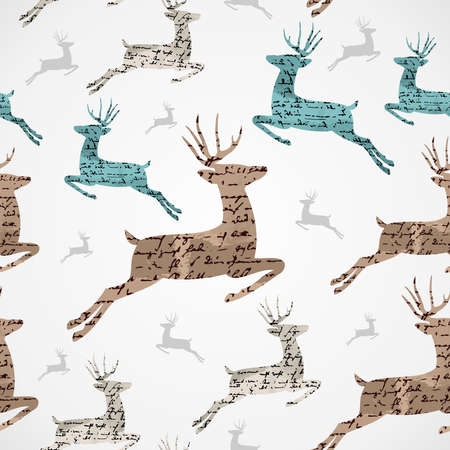 Merry Christmas vintage reindeer grunge texture seamless pattern background  Vector file layered for easy editing  Illustration