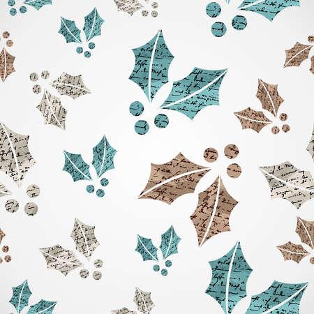 muerdago: Feliz textura del patr�n de archivo Navidad del vintage del mu�rdago grunge de fondo sin fisuras del vector en capas para facilitar la edici�n