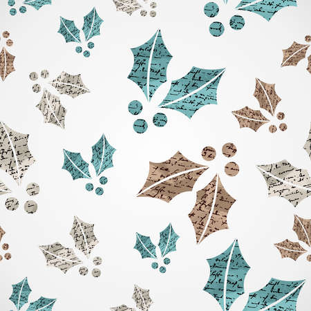 Merry Christmas vintage mistletoe grunge texture seamless pattern background  Vector file layered for easy editing  Vector