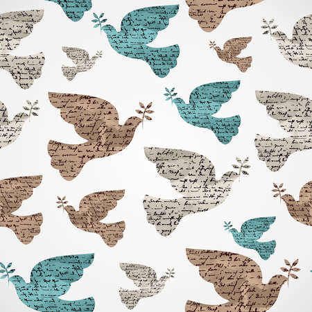 dove of peace: Merry Christmas vintage peace dove grunge texture seamless pattern background  Vector file layered for easy editing