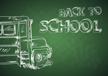 Education concept back to school bus cartoon illustration.  Vector