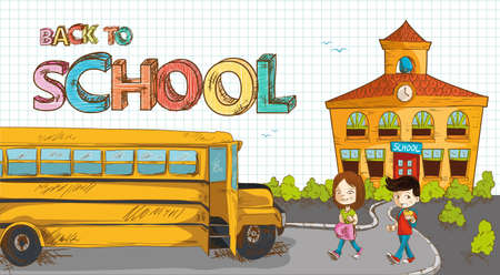 red bus: Colorful back to school text, cartoon kids walking to bus from school illustration
