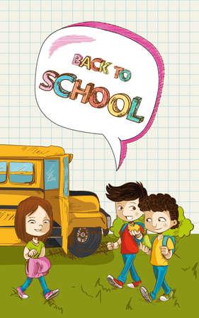 Colorful back to school text, cartoon kids school bus social media bubble illustration.   Vector