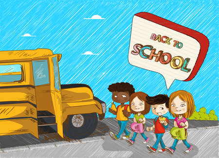 Colorful Back to school kids with school bus and social speech bubble cartoon illustration. Vector file layered for easy personalization. Vector