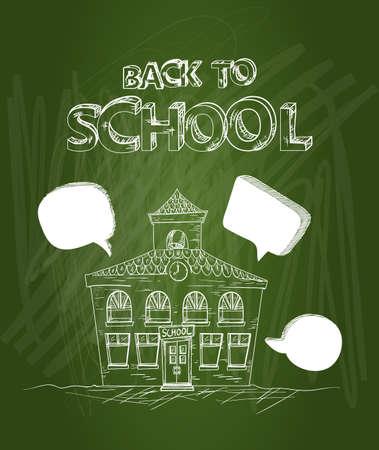 building activity: Education green chalkboard back to school text, School house social media bubbles illustration.