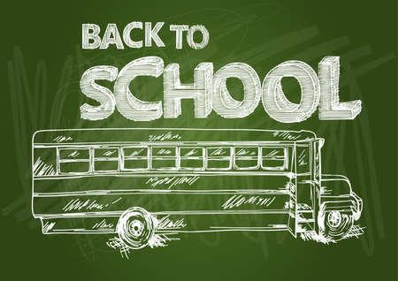 Education green chalkboard back to school text transportation bus sketch style illustration.   Vector