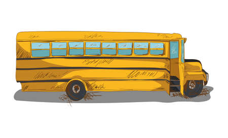 Education concept isolated back to school bus transportation cartoon illustration.  Vector