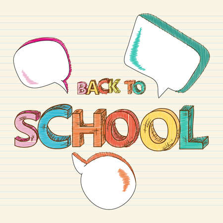 Colorful back to school text social media speech bubbles, education sketch style background illustration.  Vector