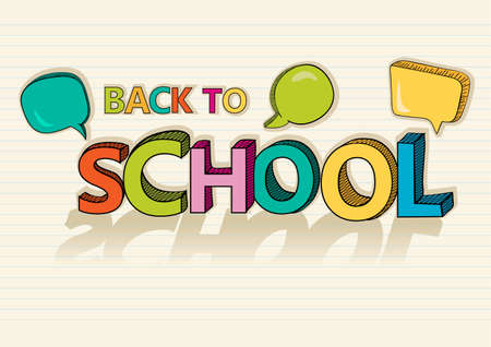 back to work: Colorful back to school text social media speech bubbles education cartoon background illustration.