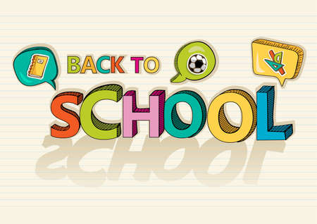 Colorful back to school text with social media speech bubbles education icons inside, cartoon background illustration.   Vector