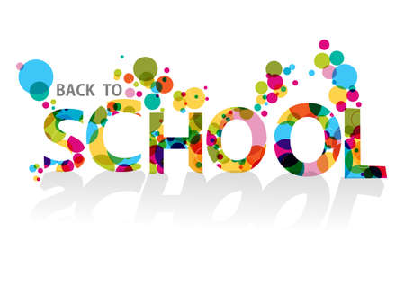 Colorful back to school text, transparent circles illustration background.   Çizim