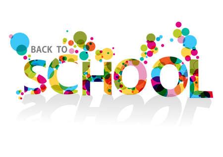 Torna a scuola testo colorato, cerchi trasparente illustrazione sfondo.