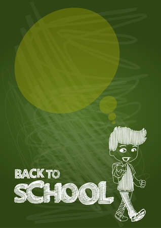 Back to school kid with text and social media speech bubble, transparent illustration.  Vector