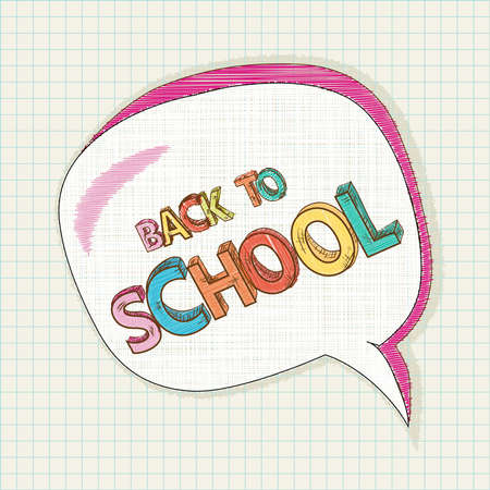 Colorful back to school text, social media speech bubble education elements grid sheet background cartoon illustration.   Vector
