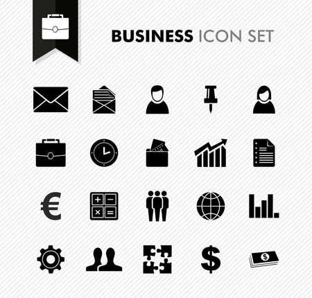 account: Black isolated business icon set work office elements background illustration. Illustration