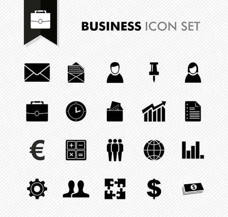 Email: Schwarz isoliert Business icon set Arbeit B�ro Elemente Hintergrund Illustration. Illustration
