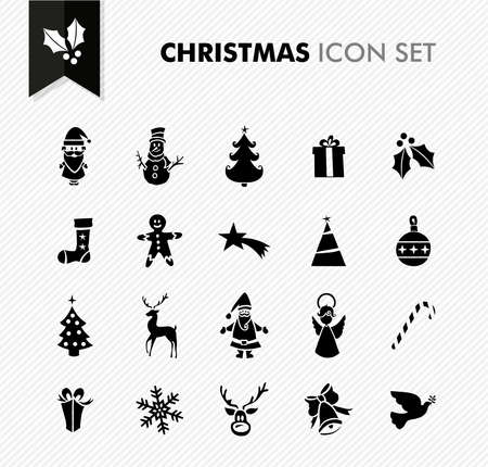Merry Christmas black internet app icon set.  Vector