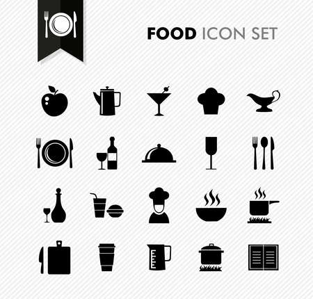 Black isolated food icon set restaurant menu elements background illustration. Stock Vector - 21760070