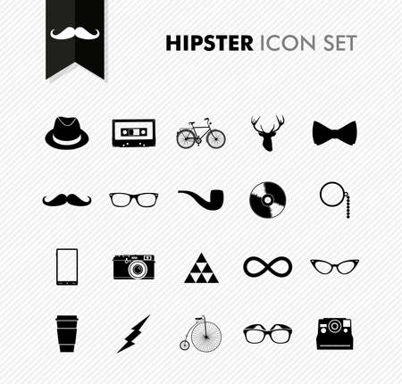 Hipster icon set black isolated retro vintage elements background illustration. Ilustração
