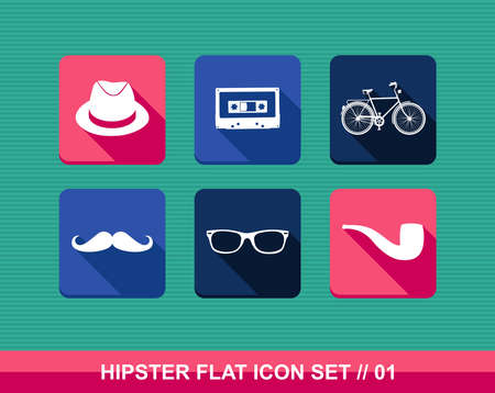 Colorful vintage hipster fashion elements flat icon set. Vector file layered for easy editing. Vector