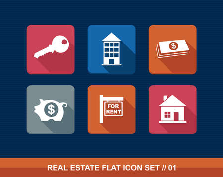 Colorful real estate business elements flat icon set. Stock Vector - 21760063