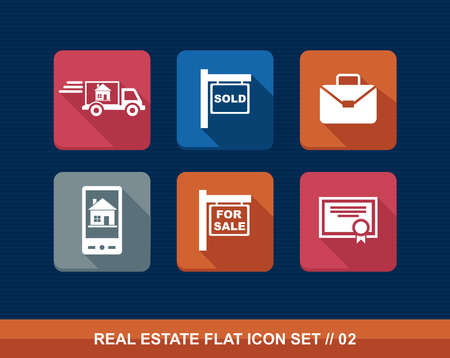 family moving house: Colorful real estate business elements flat icon set.