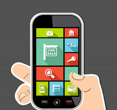 Real Estate concept human hand holds a smart phone UI applications graphic user interface flat icons set. Vector