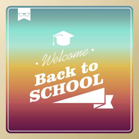 graduation background: Colorful retro hipster back to school text background illustration.  Illustration